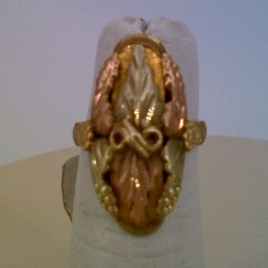 10K 2 Tone Yellow Rose Gold Leaf Fashion Ring 3.9